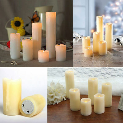 6x Flameless LED Candles Tall Church Drip Candles Warm White LED Home Decoration