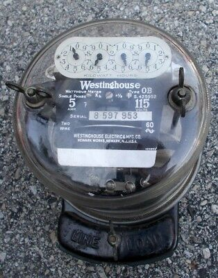Vintage Westinghouse Single Phase Watthour Electric Meter Type Ob