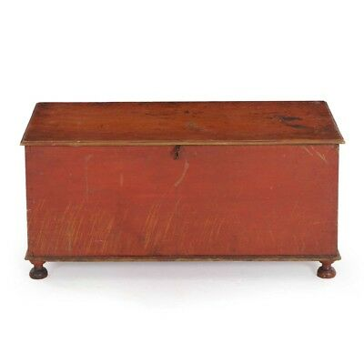 American Red Painted Antique Blanket Chest Document Box, Miniature c. 1820-40