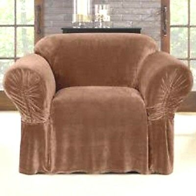 Sure Fit One Piece Chair Plush Slipcover W/clinched Arm - Color Cocoa