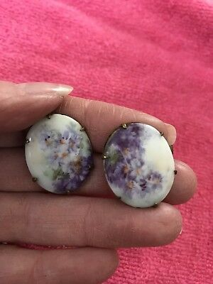 Vintage Antique Victorian Porcelain Oval Hand Painted Cufflink Buttons
