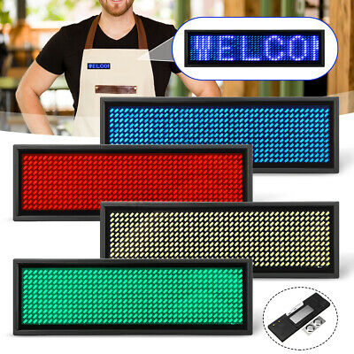 LED Digital Scrolling Name Mini Programmable Rechargeable Badge Sign 4 Colours !