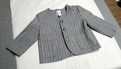 Vintage Boys Wool Striped Gray Tweed Suit Jacket, Lined, TOMMY ADAREN TOYS Size