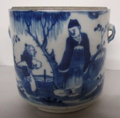ANTIQUE CHINESE BLUE EXPORT HANDLED POT 18th/19th c. RARE ESTATE FIND NO LID