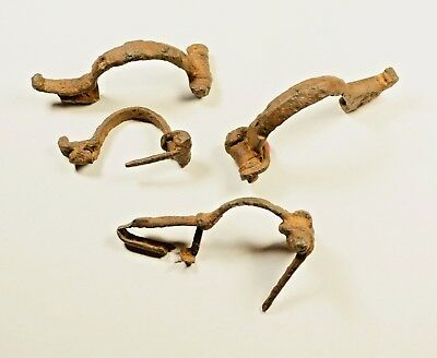 AMAZING GENUINE ANCIENT ROMAN IRON BROOCH / FIBULA - c 250 AD - LOT OF 4