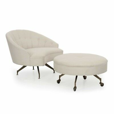 UPHOLSTERED CHAISE LOUNGE Arm Chair w/ Ottoman Mid Century ...