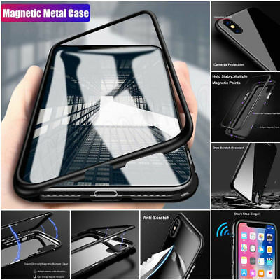 For Oneplus 6T 6 Magnetic Adsorption Metal Tempered Glass Clear Back Case Cover