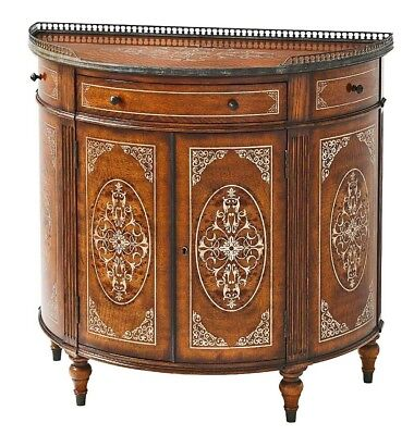 French Louis XVI Oak and Satin wood Inlaid Demi-Lune Side Cabinet Commode Server