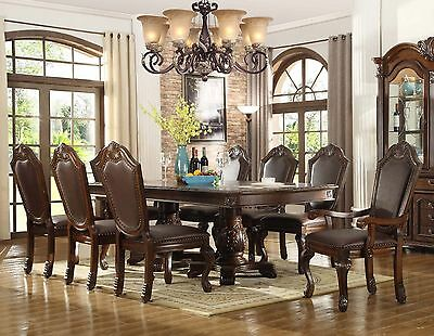 New 9Pc Chateau Formal Traditional Cherry Finish Wood Leather Dining Table Set