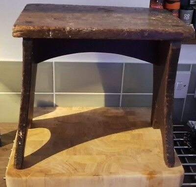Antique Rustic Oak Country Stool