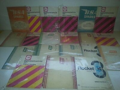 Lot of 20 VARIOUS 1950'S,60'S,70'S BSA MOTORCYCLE MANUALS,PARTS LIST,SPARE,Books