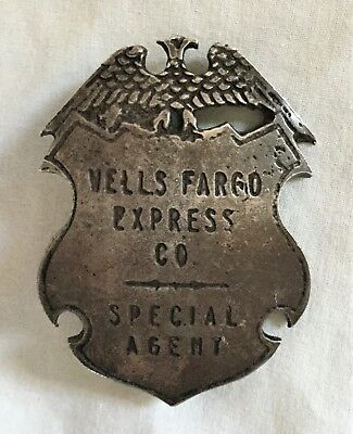 Antique Wells Fargo Express Co Special Agent Shield Badge 1874 Coin Silver Eagle