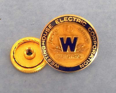 Vintage Westinghouse Electric Corporation, 10 years service, advertising pin
