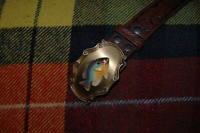 WESTERN LEATHER BELT AND BUCKLE by RAINTREE. BLUE BASS FISH DESIGN