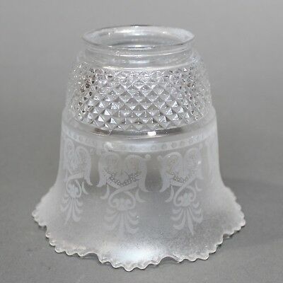 Victorian Scalloped Bell Shape Diamond Pressed Pattern and Frosted Etched Shade