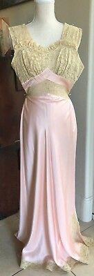 Heavenly 1930s FISCHER peach Rayon Liquid Satin Lace nightgown SZ32 - Gorgeous!!
