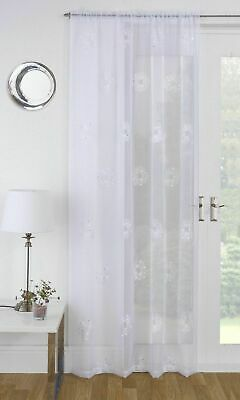 Glittery Sparkly Embroidered Sequins Flowers White Linen Voile Net Curtain Panel