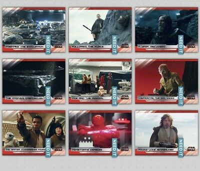 LAST JEDI SELECTS SERIES 2 WHITE SET OF 9 CARDS Star Wars Trader Digital