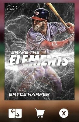 2018 BRAVE THE ELEMENTS OFFSEASON BRYCE HARPER Topps Bunt Digital Card