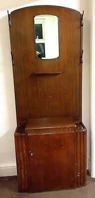 Vintage/Antique Hall Stand with coat/hat hooks, cupboard, umbrella stand, mirror
