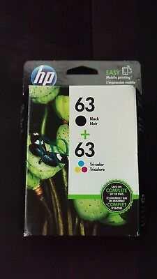 HP #63 Combo Ink Cartridges 63 Black & Color NEW GENUINE EXP AUG 2018