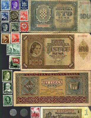 NAZI GERMANY and CROATIA BANKNOTE, COIN AND STAMP SET # 42