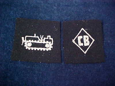 """2 Orig WW2 Cloth Patches The CB""""s """"Seabees"""" With Bull Dozer"""