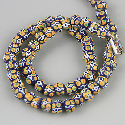 Vintage Ghana Blue Handpainted African Glass Bead Necklace A Sterling Clasp