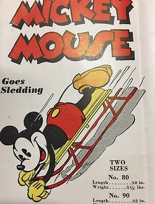 Rare 1930s Original Mickey Mouse Flexible Flyer Sled Catalog Brochure Racer ++