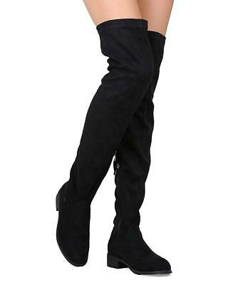 40433f497955 Women s Faux Suede Thigh High Riding Low Heel Boots by Nature Breeze  Olympia-20