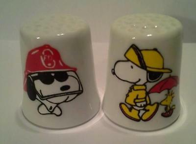 Super Nice Set of 2 Snoopy Fireman / Rainy Day Collectible Porcelain Thimbles