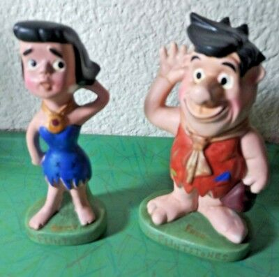60s Flintstones Joseph Lang Figures Betty and Fred Hanna Barbera With Labels