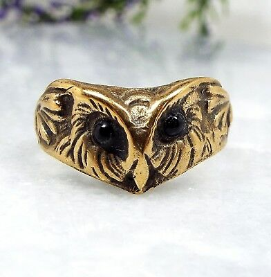 Vintage / Unusual Gold Gilt Moulded Engraved Owl Head Statement Ring Size P 1/2