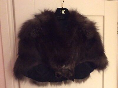 VINTAGE SILVER FOX FUR CAPE SHRUG BOLERO One Size