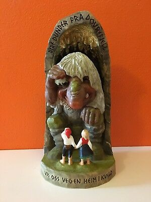 Vintage Henning Norway Hand Carved Wood Troll Cave Children Dovrefjell