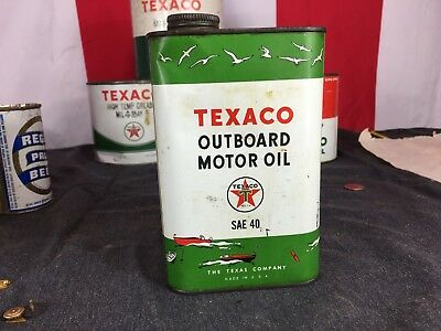 Vintage TEXACO Outboard Motor Oil Tin Advertising ONE Quart CAN BOAT MARINE