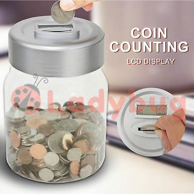 Aussie Coin Money Counting Jar Digital LCD Display OZ Coins Piggy Bank Box Gift