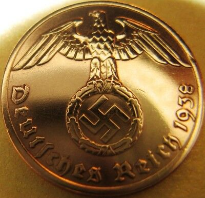 Nazi German 1 Reichspfennig 1938 Genuine Coin Third Reich EAGLE SWASTIKA RARE