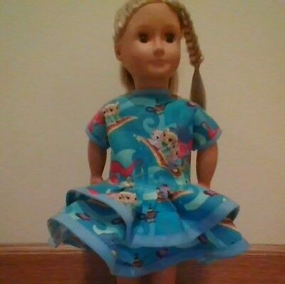 New Generation Doll Clothes Shimmer And Shine Blue Ruffle Dress For 18 Inch Doll