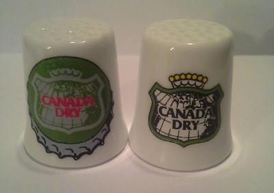 Super Nice Set of 2 Canada Dry Ginger Ale Collectible Porcelain Thimbles