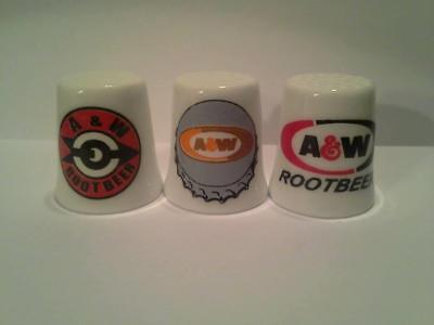 Super Nice Set of 3 A&W Rootbeer Collectible Porcelain Thimbles