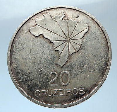 1972 BRAZIL w Pedro I and General Emelio Antique Silver 20 Cruzeiros Coin i73922