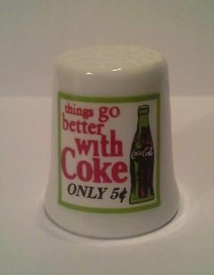 Super Nice Charming Things Go Better With Coke Collectible Porcelain Thimble