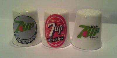 Super Nice Charming Set of 3 7-UP Seven Up Soda Collectible Porcelain Thimbles
