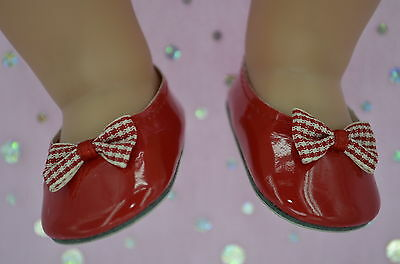 """Dolls Shoes For 17"""" Baby Born~18"""" American Girl RED SHOES WITH GINGHAM BOW"""