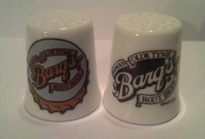 Super Nice Charming Set of 2 Barq's Rootbeer Collectible Porcelain Thimbles