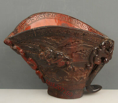 Chinese Exquisite Hand carved Ancient dragon carving Ox Horn cup