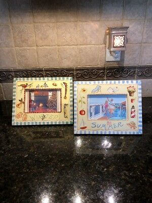 "2 FREE STANDING TABLE TOP PICTURE FRAMES 9 3/4""x7 3/4"" SUMMER & WINTER*****"