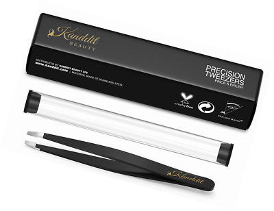 Kanddit Professional Beauty Eyebrow Tweezers Slanted Tip With Gift Box and Prote