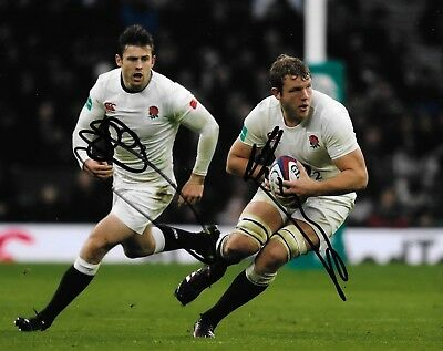 elliot daly joe launchbury both in action for england signed 10x8 photo